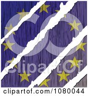 Clipart Rips Through A Wooden European Flag Royalty Free Vector Illustration
