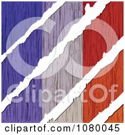 Clipart Rips Through A Wooden French Flag Royalty Free Vector Illustration