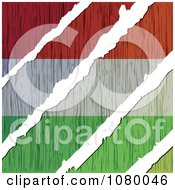 Clipart Rips Through A Wooden Hungary Flag Royalty Free Vector Illustration