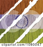 Clipart Rips Through A Wooden Indian Flag Royalty Free Vector Illustration