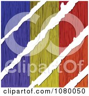 Clipart Rips Through A Wooden Romanian Flag Royalty Free Vector Illustration