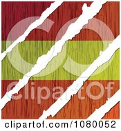 Clipart Rips Through A Wooden Spanish Flag Royalty Free Vector Illustration