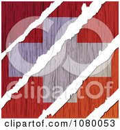 Clipart Rips Through A Wooden Swiss Flag Royalty Free Vector Illustration by Andrei Marincas