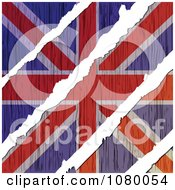 Clipart Rips Through A Wooden UK Flag Royalty Free Vector Illustration