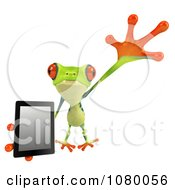 3d Argie Frog Leaping With A Tablet Computer