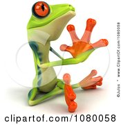Clipart 3d Argie Frog Meditating In The Lotus Pose And Facing Right Royalty Free CGI Illustration
