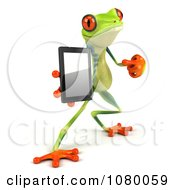Clipart 3d Argie Frog Pointing To A Tablet Computer Royalty Free CGI Illustration by Julos