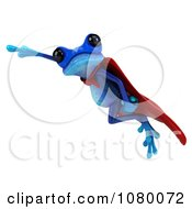 Clipart 3d Blue Super Hero Springer Frog Flying 2 Royalty Free CGI Illustration by Julos