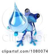 3d Blue Springer Frog Holding Up A Water Droplet