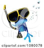 Clipart 3d Blue Springer Frog Snorkeling 3 Royalty Free CGI Illustration