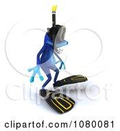 Clipart 3d Blue Springer Frog In Snorkel Gear 3 Royalty Free CGI Illustration