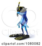 Clipart 3d Blue Springer Frog In Snorkel Gear 2 Royalty Free CGI Illustration
