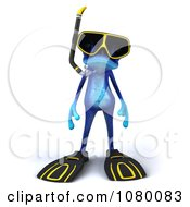 3d Blue Springer Frog In Snorkel Gear 1