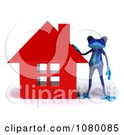 3d Blue Springer Frog Resting His Hand On A Red House