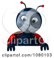 Clipart 3d Ladybug Looking Down At A Sign Royalty Free CGI Illustration by Julos