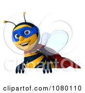 Clipart 3d Super Honey Bee Above A Sign 2 Royalty Free CGI Illustration