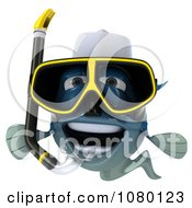 Clipart 3d Blue Fish With Snorkel Gear 4 Royalty Free CGI Illustration