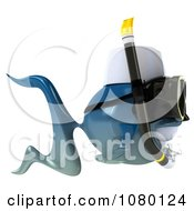 Clipart 3d Blue Fish With Snorkel Gear 3 Royalty Free CGI Illustration