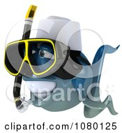 Clipart 3d Blue Fish With Snorkel Gear 2 Royalty Free CGI Illustration