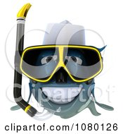 Clipart 3d Blue Fish With Snorkel Gear 1 Royalty Free CGI Illustration