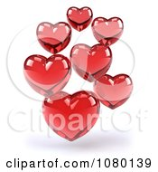 Clipart 3d Red Glass Hearts Royalty Free CGI Illustration