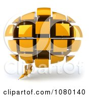 3d Yellow Chat Balloon Made Of Cubes