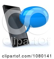 Clipart 3d Blue Text Chat Balloon By A Cell Phone Royalty Free CGI Illustration