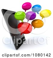 Clipart 3d Colorful Text Chat Balloons By A Cell Phone Royalty Free CGI Illustration