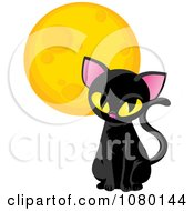 Clipart Sitting Black Cat And Yellow Moon Royalty Free Vector Illustration
