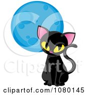 Clipart Sitting Black Cat And Blue Moon Royalty Free Vector Illustration by Rosie Piter