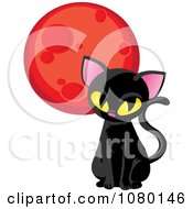 Clipart Sitting Black Cat And Red Moon Royalty Free Vector Illustration by Rosie Piter