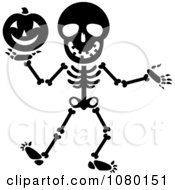 Clipart Black And White Skeleton Holding A Halloween Pumpkin Royalty Free Vector Illustration