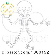Skeleton Holding A Halloween Pumpkin