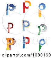 Clipart Abstract Letter P Logos Royalty Free Vector Illustration