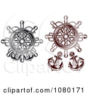 Clipart Black And Brown Nautical Helms And Anchors Royalty Free Vector Illustration