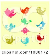 Clipart Colorful Communications Birds On Yellow Royalty Free Vector Illustration
