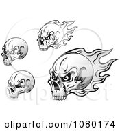 Clipart Black And White Skulls With Flames Royalty Free Vector Illustration