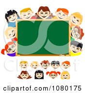 Clipart Diverse School Kid Faces And A Chalk Board Royalty Free Vector Illustration