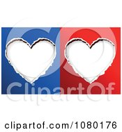 Clipart Torn Out Paper Hearts On Blue And Red Backgrounds Royalty Free Vector Illustration