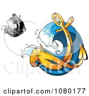 Clipart Golden And Grayscale Anchors In Waves Royalty Free Vector Illustration