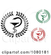 Clipart Black Green And Red Medical Caduceus Symbols Royalty Free Vector Illustration