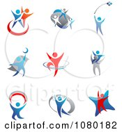 Clipart Blue And Red Silver People Logos Royalty Free Vector Illustration