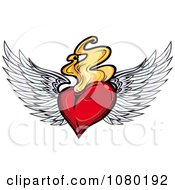 Clipart Red Winged Heart With Flames Royalty Free Vector Illustration