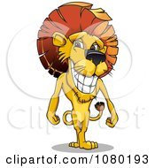 Clipart Standing Male Lion With A Mohawk Mane Royalty Free Vector Illustration by Vector Tradition SM