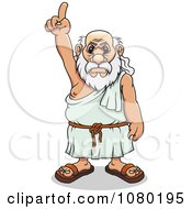 Clipart Mad Greek Man Pointing Upwards Royalty Free Vector Illustration