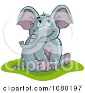 Clipart Happy Elephant Sitting And Daydreaming Royalty Free Vector Illustration