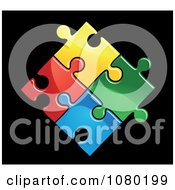 Clipart Connected Colorful Puzzle Pieces Royalty Free Vector Illustration