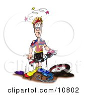 Sad And Stunned Male Biker Clutching The Handles To His Damaged Mountain Bike Clipart Illustration