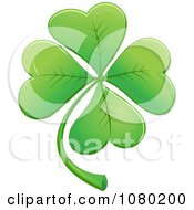 Clipart Green Lucky Four Leaf Clover Royalty Free Vector Illustration