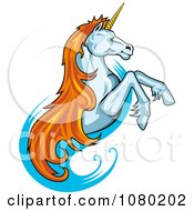 Clipart Leaping Unicorn With Orange Hair Royalty Free Vector Illustration